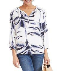 nic+zoe women's botanical leaf blouse - white blue combo - size s