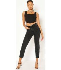 klassieke mom jeans met hoge taille, zwart