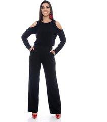 macacão pantalona b bonnie ombro vazado manga longa clara preto