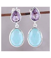 amethyst and chalcedony dangle earrings, 'dip into water' (india)