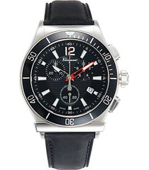 chronograph two-tone stainless steel & leather watch