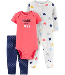 carter's baby girls 3-pc. cotton made with love coveralls, bodysuit & footie pants set