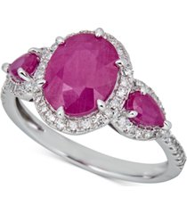 certified ruby (2-1/2 ct. t.w.) & diamond (1/4 ct. t.w.) statement ring in 14k white gold (also available in sapphire)