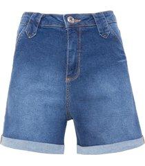 short feminino jeans barra italiana - azul