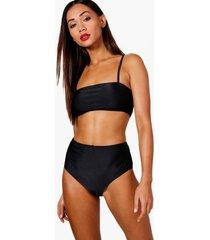 petite bandeau strappy high waisted bikini, black