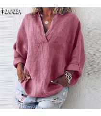 zanzea señoras de las mujeres más el tamaño informal de manga larga con cuello en v holgada blusa de la camisa tops -rosado