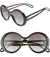 women's givenchy 56mm round sunglasses - black