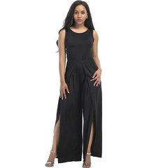 mono elegante para mujer de verano con cintura alta y mameluco con cinturón ropa negra nueva moda-negro