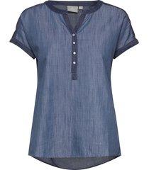 blouse-woven blouses short-sleeved blå brandtex