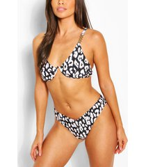 leopard mono wire high leg bikini, black