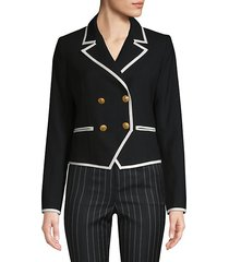contrast double-breasted wool jacket