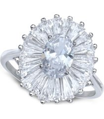 cubic zirconia tapered flower oval & baguette ring (5-3/8 ct. t.w.) in sterling silver (also available in orange and blue)