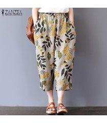 zanzea mujeres largo harem de la impresión floral de los pantalones largos pantalones elásticos de la cintura dot -floral