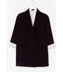 womens if it suits you double breasted blazer - black