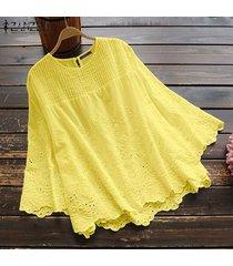 zanzea mujeres de manga larga ahueca hacia fuera el ganchillo tapas de la camisa de la blusa de cuello redondo asim más el tamaño -amarillo