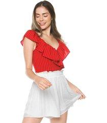 blusa rojo-blanco active