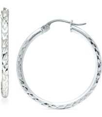 """giani bernini small textured hoop earrings in sterling silver, 1"""", created for macy's"""