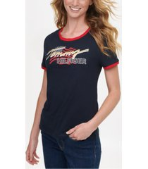 tommy hilfiger cotton short-sleeve graphic logo t-shirt