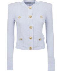 balmain short buttoned knit cardigan