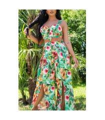 sexy zomer set- broek met split en bustier top groen