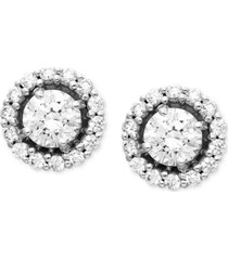 arabella 14k white gold earrings, swarovski zirconia round pave stud earrings (2-7/8 ct. t.w.)