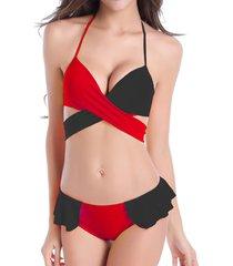swimmart donna sexy bikini costume da bagno a 2 pezzi con stringa traspirabiule in 2 colori