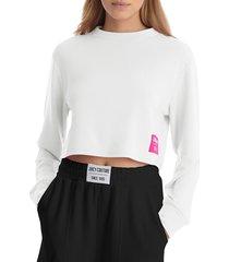 juicy couture women's boxy fleece cropped sweatshirt - bleached wash - size xl