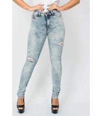 calã§a feminina spot destroyed emporio alex jeans azul - azul - feminino - dafiti