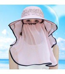 sombrero para mujer, verano femenino visera uv encaje-rosa