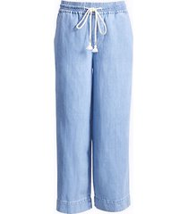 loft cotton linen wide leg crop pull on jeans in indigo wash