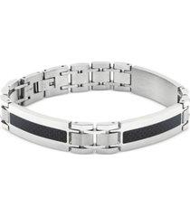 men's carbon fiber inlay bracelet in stainless steel