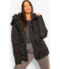 tall getailleerde cinch jas met faux fur capuchon, black