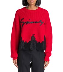 givenchy cropped sweater with lace