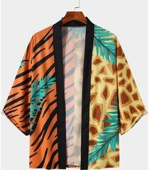hombre colorful leopard and zebra stripe cardigan