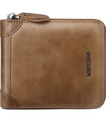portafoglio trifold vintage per portafogli con cerniera per monete vera pelle per uomo