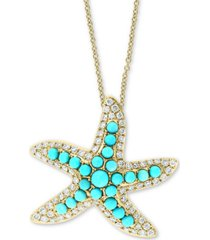 """effy turquoise & diamond (5/8 ct. t.w.) starfish 18"""" pendant necklace in 14k gold"""