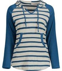 striped jersey knit pouch pocket raglan sleeve hoodie