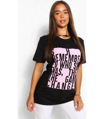blocked slogan t-shirt, black