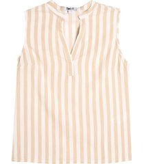 blusa mujer m/s lineas color beige, talla 10