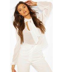 dobby mesh pussybow blouse, white