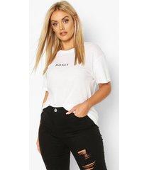 plus honey micro slogan t-shirt, white