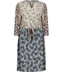 geisha 17138-20 720 jurk combi print animal & leaves sand combi