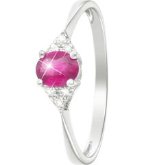 anello in oro bianco, rubino 0,39 ct e diamanti 0,03 ct per donna