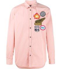 dsquared2 badge-appliqué trucker shirt - pink