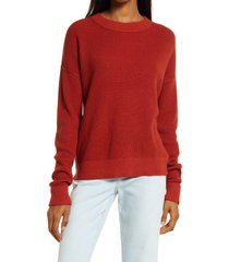 women's treasure & bond thermal stitch pullover, size xx-small - red
