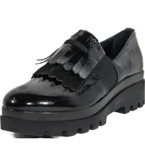 zapato cuero mocasin flecos negro nara
