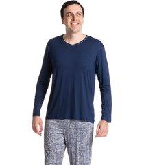 pijama masculino longo estampado olavo