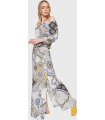 vestido blanco-azul-amarillo desigual