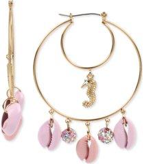 betsey johnson gold-tone seahorse & puka shell double hoop earrings