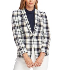 vince camuto cotton plaid-print single-button blazer
